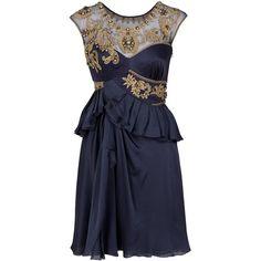 TEMPERLEY LONDON Mini Letesha Dress (3.180 BRL) ❤ liked on Polyvore featuring dresses, vestidos, short dresses, blue, women, short blue cocktail dresses, sweetheart dress, short mini dress, blue dress and ruffle dress