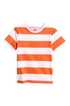 T-shirt - White/Orange striped - | H&M