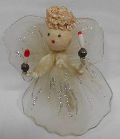 A Vintage Christmas Angel Ornament Spun Cotton Pipe Cleaner Lylon Wings Glitter | eBay