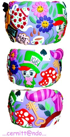 Polymer Clay Wonderland bangle by ~cernittando on deviantART