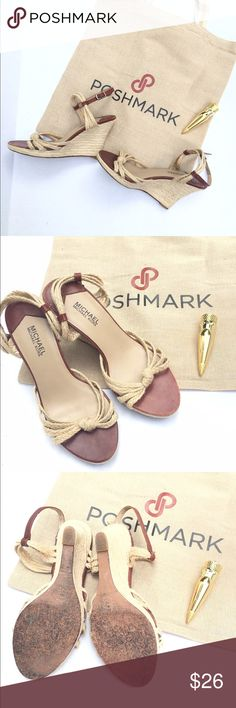 """Michael Kors strappy wedges These beauties are well loved but have a lot of life left in them!!!  4"""" heel    🎉Make an offer!🎉   💰Bundle discount on!!  💰 Michael Kors Shoes Wedges"""