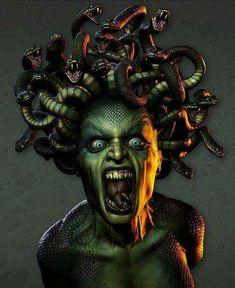 LITTLE DEVIL Medusa Kunst, Medusa Art, Medusa Gorgon, Medusa Tattoo, Medusa Makeup, Medusa Drawing, Medusa Greek Mythology, Greek And Roman Mythology, Greek Gods
