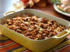 Cinnamon Raisin Bread Stuffing with Sausage recipe from Valerie Bertinelli via Food Network