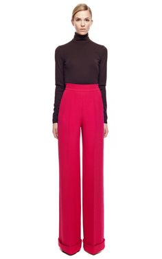 Long Wide Pant With Turn Up by DELPOZO for Preorder on Moda Operandi