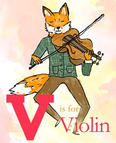 V is for Violin, children's A to Z illustration. #illustration #art #childrensillustration Richard Stelmach
