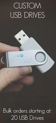 Custom USB Drives for Photographer Business. Sold in bulk, these USBs are great for delivering digital photos to clients in a cute, creative way. They complement albums, folders, boxes, and all photography packaging ideas. Order quantities start at 20 USBs, but we recommend starting at 100 USBs, so you can stock up and save for the whole year! Believe us, they will go fast!