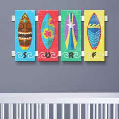 "Here's a cute children's surfboard surf sign featuring a collection of 4 different colorful surfboards. Each individual surfboard sign has it's own playful surfboard design and a letter that spells the word ""SURF"". Our children's surfboard wall decoration is sure to add the surf & beach spirit to your child's surf theme bedroom. Our surfboard..."