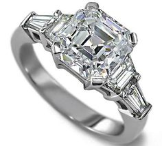 Asscher Cut diamond Engagement Ring setting with trapezoids and baguettes
