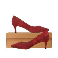 Faux Red Velvet Women's Pointed Toe Low Heel Pumps (Model 053).Crimson red faux velvet texture background. Low Heels, Shoes Heels, Pumps, Textured Background, Red Velvet, Kitten Heels, Toe, Pumps Heels