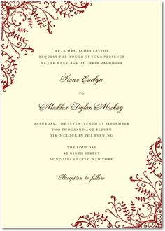 How gorgeous and clean is this print?!  Signature Ecru Wedding Invitations Fine Filigree - Front : Emerald