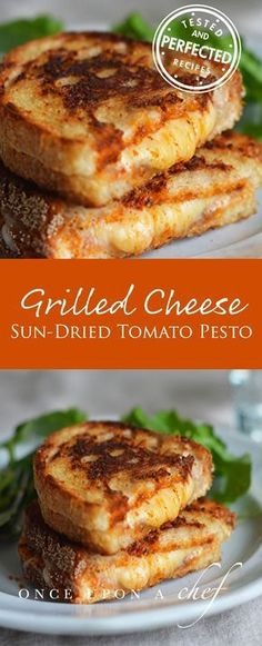 Grilled Cheese Sandwiches with Sun-Dried Tomato Pesto These grilled cheese sandwiches with sun-dried tomato pesto taste like hot, crispy pizza paninis. - Grilled Cheese Sandwiches with Sun-Dried Tomato Pesto Sandwich Bar, Deli Sandwiches, Soup And Sandwich, Grilled Cheese Sandwiches, Pesto Sandwich, Vegan Sandwiches, Make A Sandwich, Grilled Sandwich Ideas, Grilled Cheese Food Truck