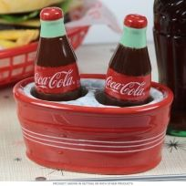 Coca-Cola Bottles on Ice Ceramic Salt and Pepper Shakers