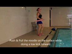 Water Aerobics: in the shallow water with a noodle