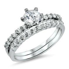 Sterling Silver CZ ladies size 5-10 classic round cut engagement ring and wedding band wedding ring set #BladesBling #sterlingsilver #CZ #roundcut #brilliant #engagementring #bridal #wedding  #bladesandbling #freegiftbox #freeshipping #jewelry #rings #beautiful #fashion #love #swag #foreverlove  #infinity #iheartit #wecute #jewelryforwomen #weddingplanning #SolitairewithAccents #silver #silverjewelry   #engaged #familybusiness #thebigday #affordablewedding