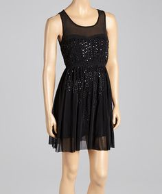 Another great find on #zulily! Black Sequin Sleeveless Blouson Dress by Andrée #zulilyfinds