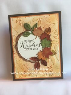 Stampin Up! Diy Thanksgiving Cards, Holiday Cards, Christmas Cards, Thanksgiving Treats, Christmas Greetings, Stampin Up, Leaf Cards, Hand Stamped Cards, Embossed Cards