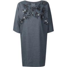 Maiyet floral appliqué shift dress (£1,450) ❤ liked on Polyvore featuring dresses, blue, shift dresses, floral shift dress, linen shift dress, applique dress and floral dresses