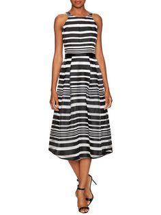 Bella Cotton Stripe A Line Dress by Hunter Bell at Gilt