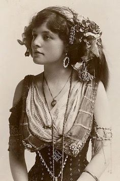 Antique photo of a Bohemian gypsy girl.