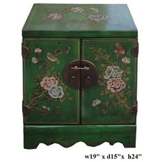Green Lacquer Flower Scenery End Table Nightstand - asian - furniture - san francisco - by Golden Lotus Inc found on Polyvore