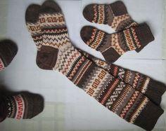 Scandinavian pattern rustic fall autumn knit knee-high coffee brown orange bamboo mustard yellow wool socks CUSTOM MADE. $45.00, via Etsy.