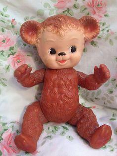 Sun Rubber Company Teddy Bear 1958 Vintage Toy Vinyl Brown Sunny 1950s Antique