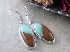 Made with Boulder Chrysoprase cabochons and sterling silver with leverback earring wires.