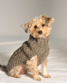 Handmade - Cable Knit Grey Dog Sweater