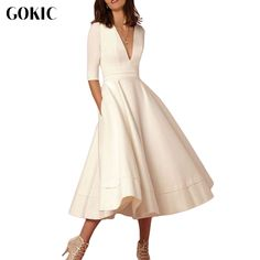 GOKIC New Autumn Women Half Sleeve Dress Female V Neck Elegant High Waist Winter Formal Office Stylish A Line Pocket Midi Dress-in Dresses from Women's Clothing & Accessories on Aliexpress.com | Alibaba Group