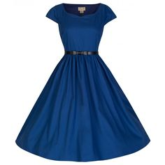 'Tara' Audrey Vintage Inspired Midnight Blue Swing Dress