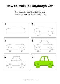 How to Make a Playdough Car Instructions Sheet – SparkleBox Wie erstelle ich ein Playdough Car Instructions Sheet – SparkleBox Drawing Lessons For Kids, Art Drawings For Kids, Doodle Drawings, Doodle Art, Easy Drawings, Art Lessons, Art For Kids, Directed Drawing, Step By Step Drawing