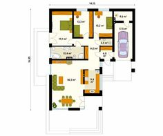 Projekt domu Neptun 5 - rzut parteru School Projects, Planer, House Plans, Floor Plans, Flooring, How To Plan, Home Decor, Log Cabins, Sketching