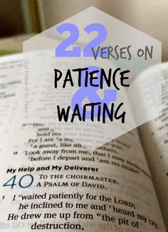 22 verses on Patience & Waiting.  Sometimes I struggle with patiently waiting on God's timing, and I turn to these verses.