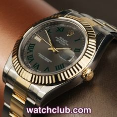 Rolex Datejust II 41mm - Fully Stickered, Rolex Warranty REF: 116333   Year Aug 2013 - The latest update of the classic Rolex Datejust model, this latest ref.116333 features a larger 41mm stainless steel case with crisp yellow gold fluted bezel. Sporting a slate grey dial with green roman numerals this model is powered by Rolex's in-house automatic chronometer rated movement (cal.3135) and is fitted to the latest gold and steel Oyster bracelet.