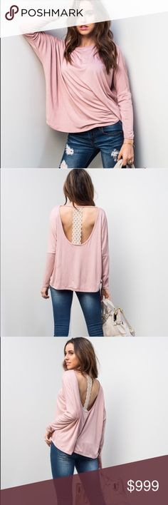 🌷 COMING SOON 🌷Dusty Pink Open Back Top This shirt is ADORABLE 🌸  Made in the USA 🇺🇸  Super soft and flirty! Price when available $27 Tops