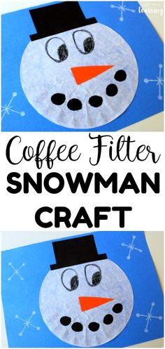 Share this simple coffee filter snowman craft this winter for an easy winter craft to make with kids! Perfect for early ages too! Holiday Easy Coffee Filter Snowman Craft for Kids Winter Crafts For Toddlers, Holiday Crafts For Kids, Crafts For Kids To Make, Kids Crafts, Winter Crafts For Prek, Painting Crafts For Kids, Kindergarten Crafts, Daycare Crafts, Preschool Art