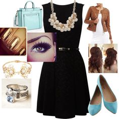 Smart use of blues complement the #lbd in this entry for the #littleblackdress #fashion #contest