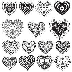 Herzen zeichnen / Gorgeous Hearts = Free Printables :: One of Many Valentine Ideas at FineCraftGuild.com