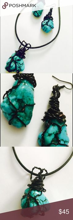 Turquoise Wire Wrapped Earrings & Necklace Set Beautiful natural turquoise earrings & necklace set!  Wire wrapped in black wire, the earrings are approx. 3 1/2 inches in length and 1 1/2 inches in width.  The stone of the necklace is approx. 2 1/2 inches in length and 2 1/2 inches in width.  An 18 inch leather necklace is included. Jewelry Earrings