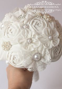 Fabric Bouquet Vintage Bouquet Rustic Bouquet Wedding
