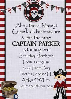 Pirate birthday party invitation with custom pirate