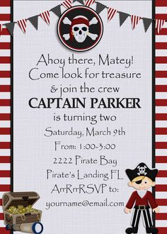 Pirate birthday party invitation with custom pirate