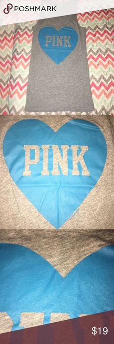 PINK Victoria's Secret Graphic Tank Top - Medium PRICE is negotiable, unless otherwise stated.   Details: Razorback style, tee shirt material fitted. Graphic Heart with PINK logo on front. Graphic does show normal wear.   ••COLOR: blue/gray   Size: medium   Brand: Victoria's Secret pink   Condition: good to excellent used   #CksOverload #ShopNow #Share #Follow #ISO #InstaShop #ForSale #NOTRADE #LookingFor  •I do NOT TRADE•  Used items may contain piling &/or signs of wash and wear, they are…