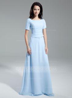 771a236591 A-Line Princess Scoop Neck Floor-Length Chiffon Mother of the Bride Dress