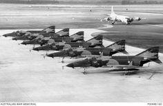RAAF McDonnell Douglas F-4E Phantom II fighter bombers at RAAF Fairbairn, ACT Open Day 1972