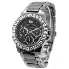 >> Click to Buy << Alexis brand Gunmetal Band Water Resist Black Dial Ceramic Bracelet Watch women 2017 ladies watches montre femme horloge dames #Affiliate