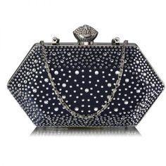 332555c5c172 Navy Rhinestone Studded Hard Box Bridal Clutch Bag Bridal Clutch Bag