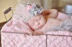 Gray & Light Pink Lace Flower Feather Infant Headband