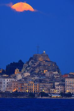 Clouded Full Moon & The Old Fortress of Corfu, Greece