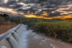 Sunrise over the dam wall Somerset East Easterncape South Africa Somerset, South Africa, Sunrise, Waterfall, Wall, Outdoor, Outdoors, Sunrises, Waterfalls